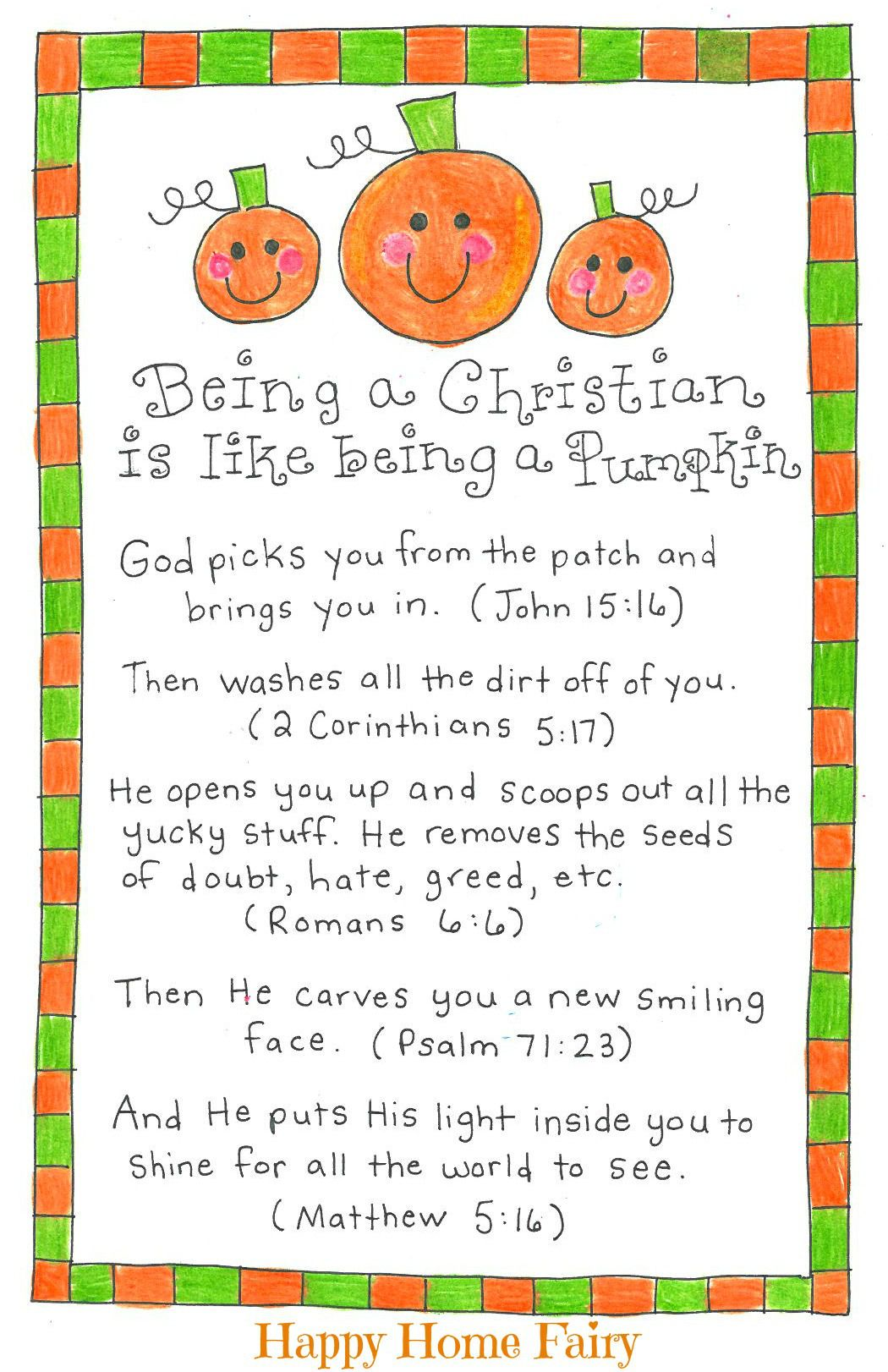 Being a Christian Is Like Being a Pumpkin FREE Printable – Free Printable Religious Thank You Cards
