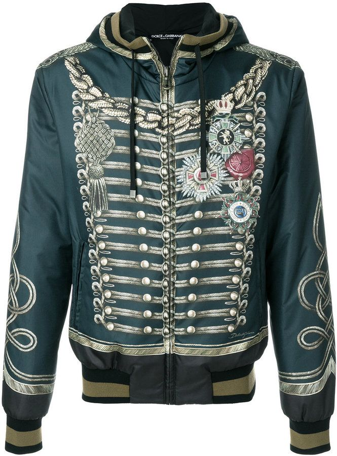 055246159048 Dolce & Gabbana military print hooded bomber jacket | Products ...