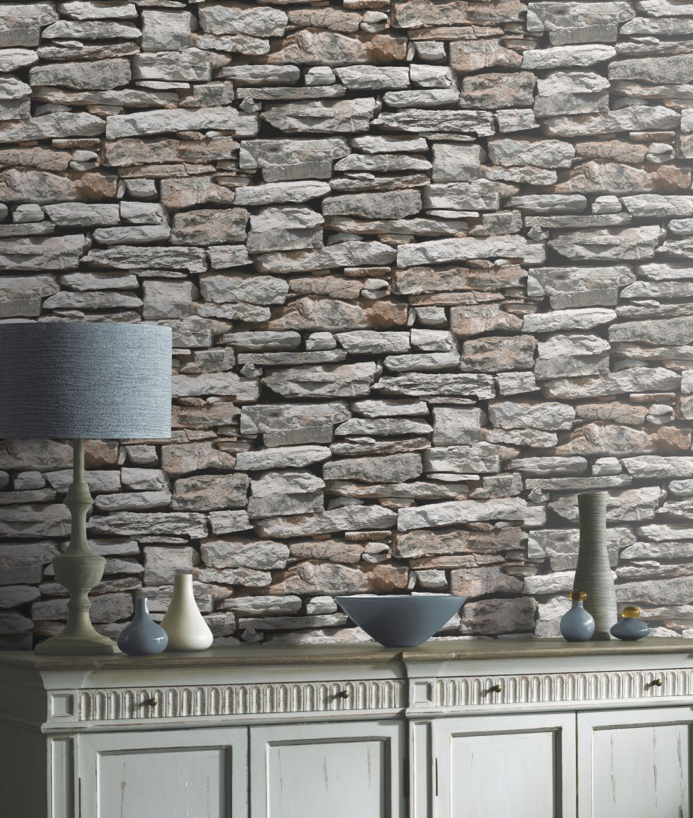 Moroccan Wall By Arthouse Grey Red Wallpaper Wallpaper Direct Stone Wallpaper Grey Stone Wallpaper Brick Effect Wallpaper