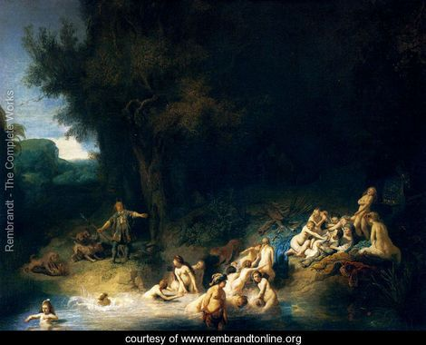 Diana and her Nymphs Bathing, with Actaeon and Callisto - Rembrandt Van Rijn