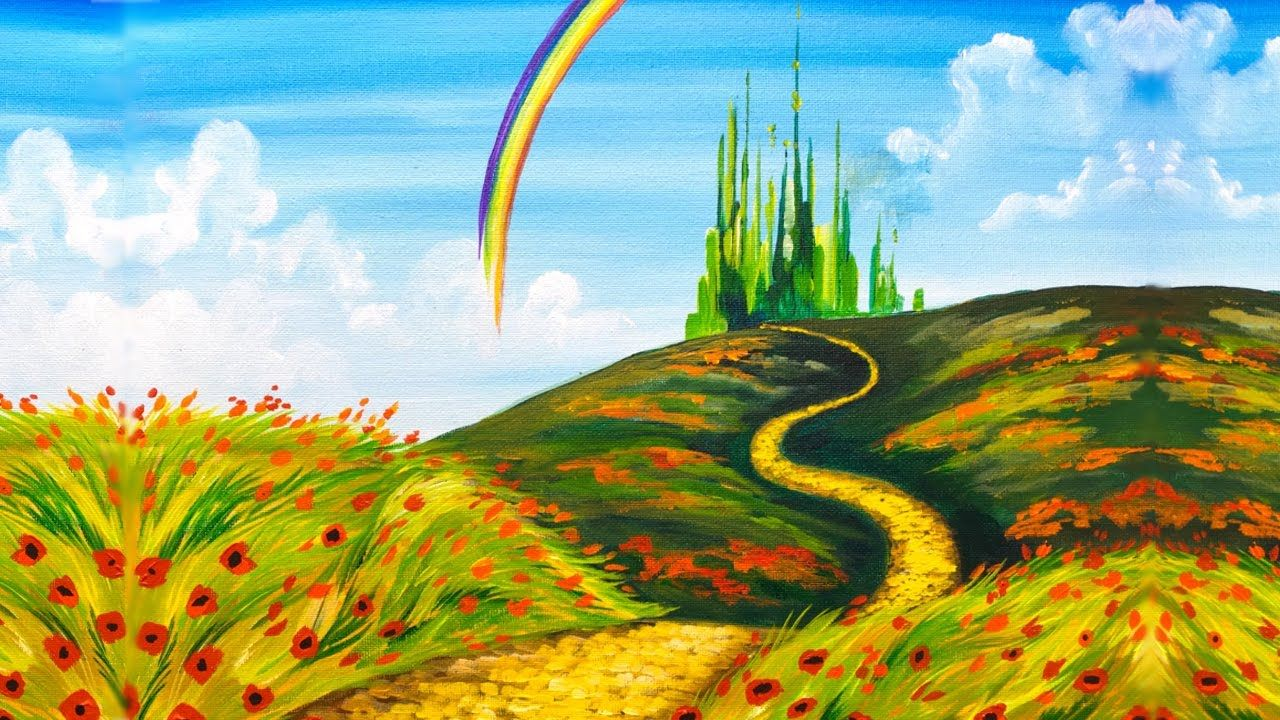 Emerald City Step By Step Acrylic Painting On Canvas For Beginners Easy Landscape Paintings Landscape Painting Tutorial Landscape Paintings