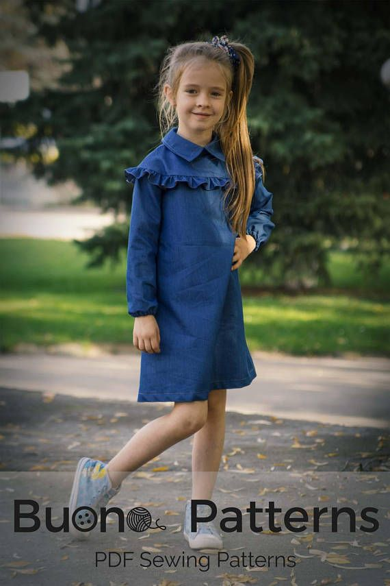 Long sleeve dress pdf pattern for girls age 3 to 12, Girls sewing ...