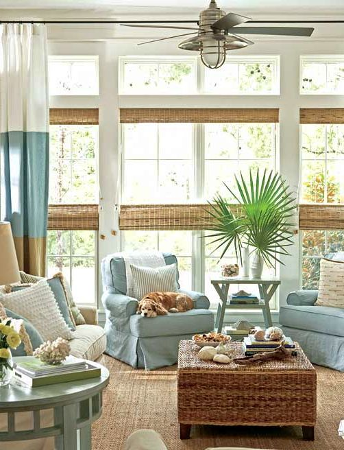 Neutral Cozy Coastal Living Room with Palm Frond Display Idea  #coastallivingrooms