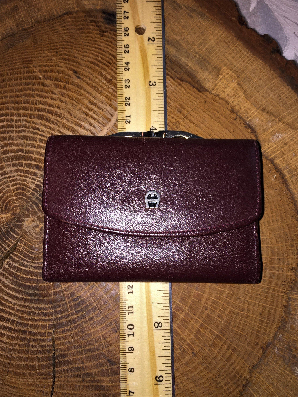 de482b7716 ETIENNE AIGNER VINTAGE Oxblood 4 X 3.75 X .5 Leather Wallet W Kiss Lock  Change Purse by coachcrossing on Etsy