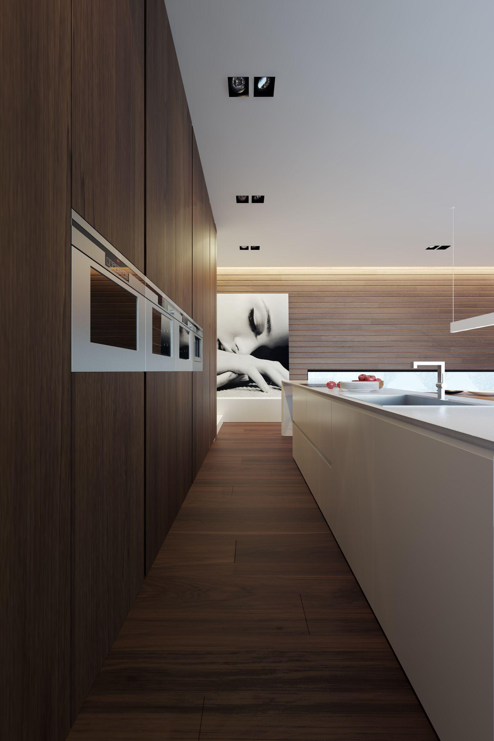 Minimalist Kitchen // modern kitchen with wood wall to provide built ...