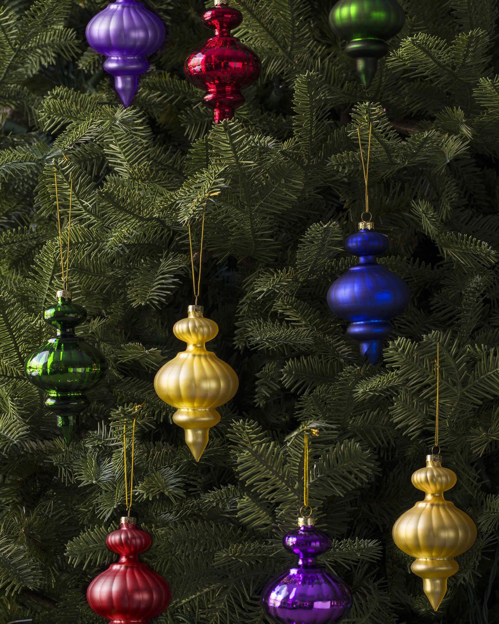 Balsam hill s finial ornament set adds vibrant solid hues