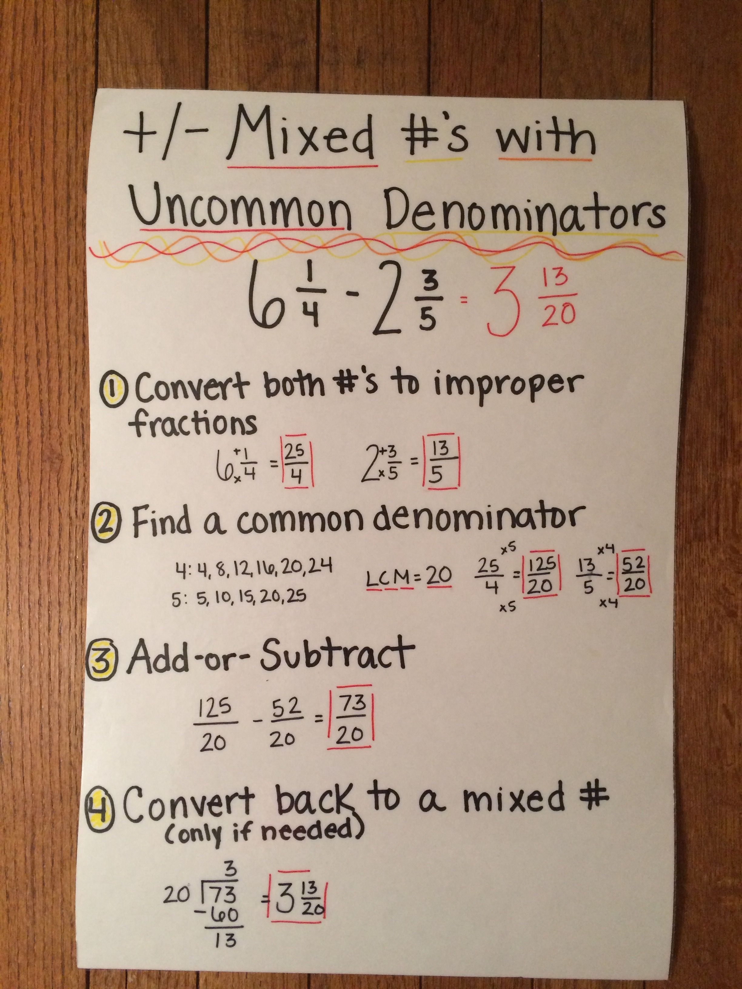 How to add fractions with uncommon denominators ideas