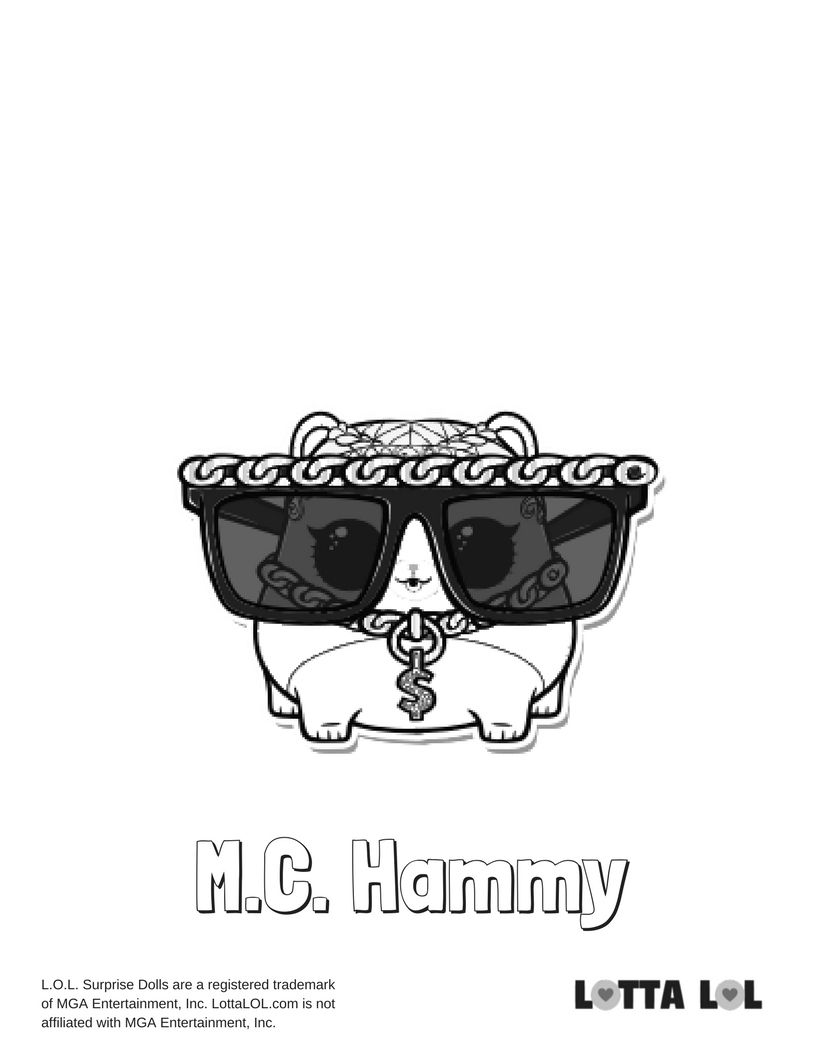 mc hammy coloring page lotta lol lol surprise series 3 pets