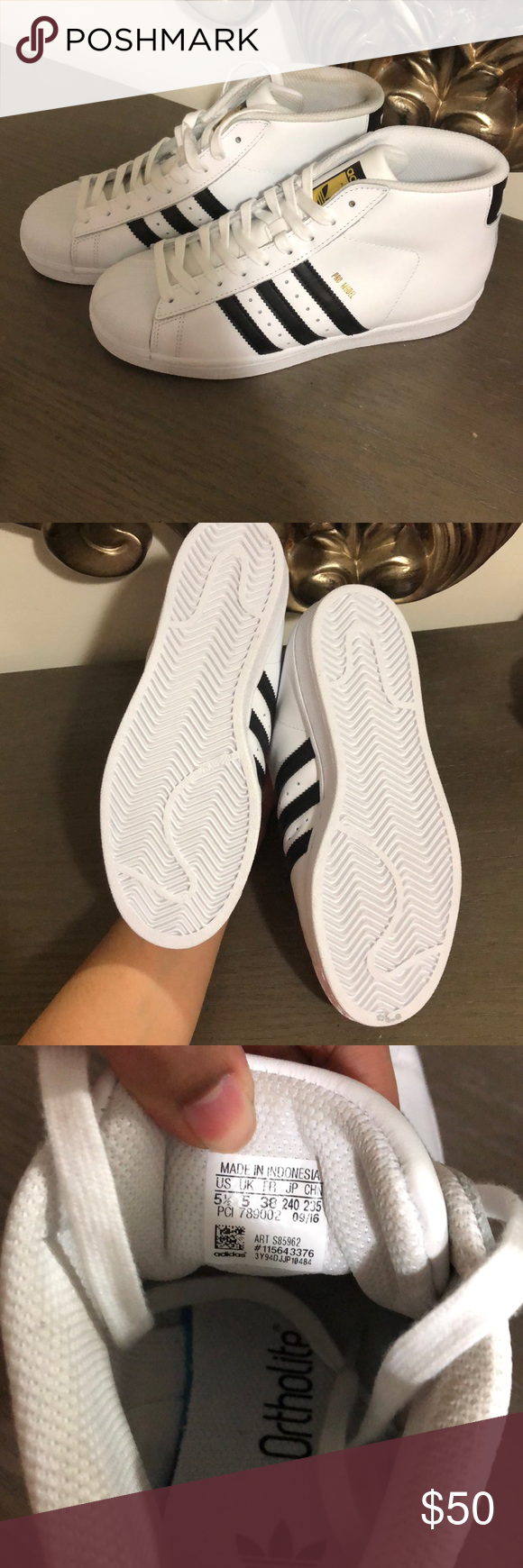 Adidas Sneakers Brand new. They are dirty from my 3 year old trying them in  with her shoes 🙄 size 5.5 boy fits a size 8 women No box adidas Shoes  Sneakers cc9029ccc4