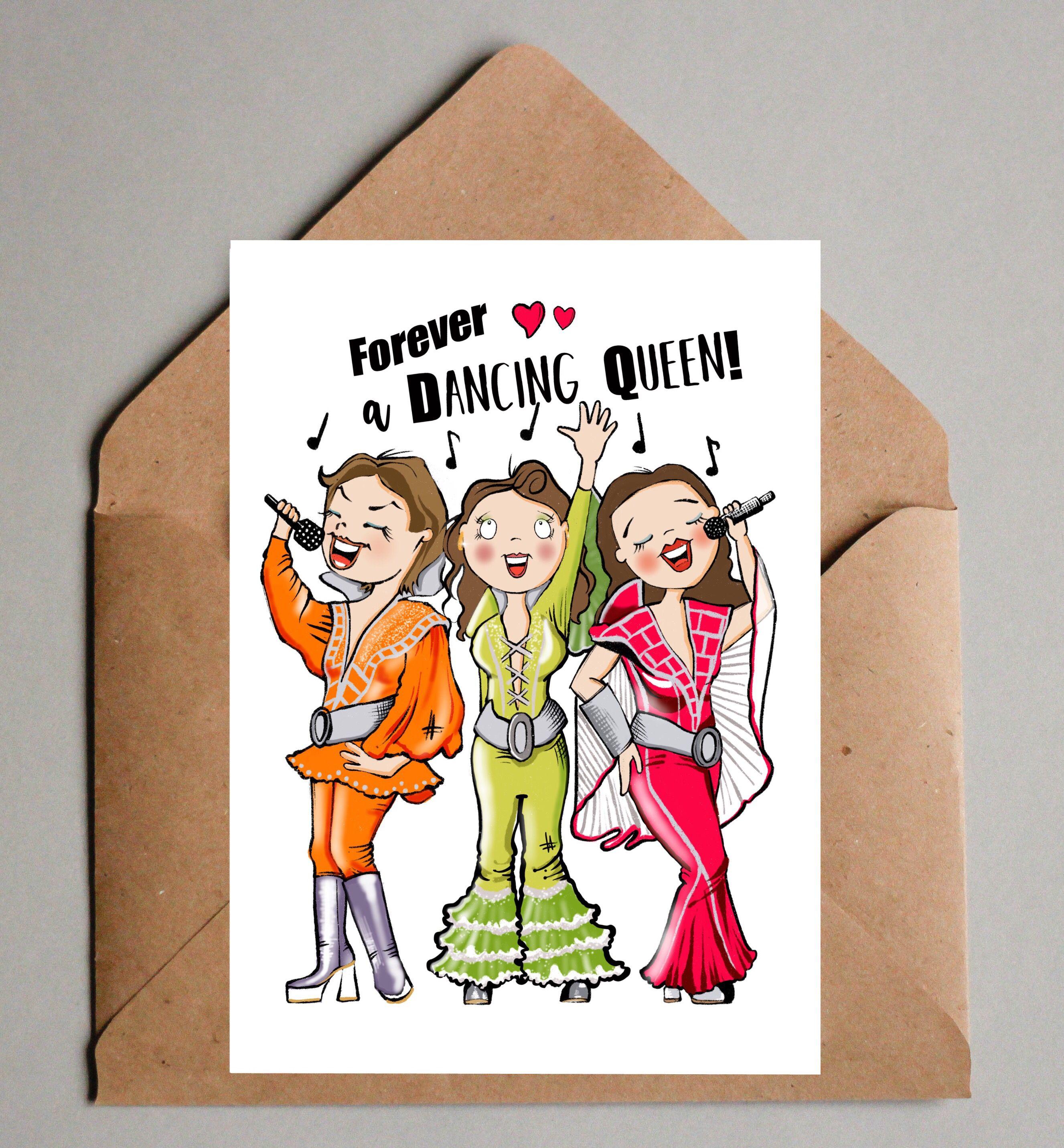 mamma mia abba musical theatre blank birthday card dancing