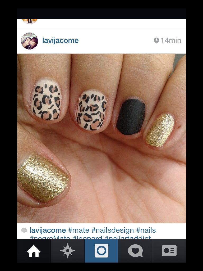 Leopard and matte nails