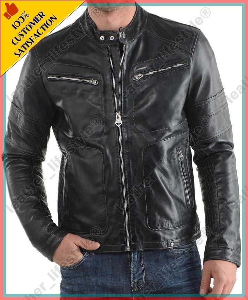 468fe9cd8 Men's Genuine Lambskin Quilted Motorcycle Slimfit Biker Jacket Coat ...