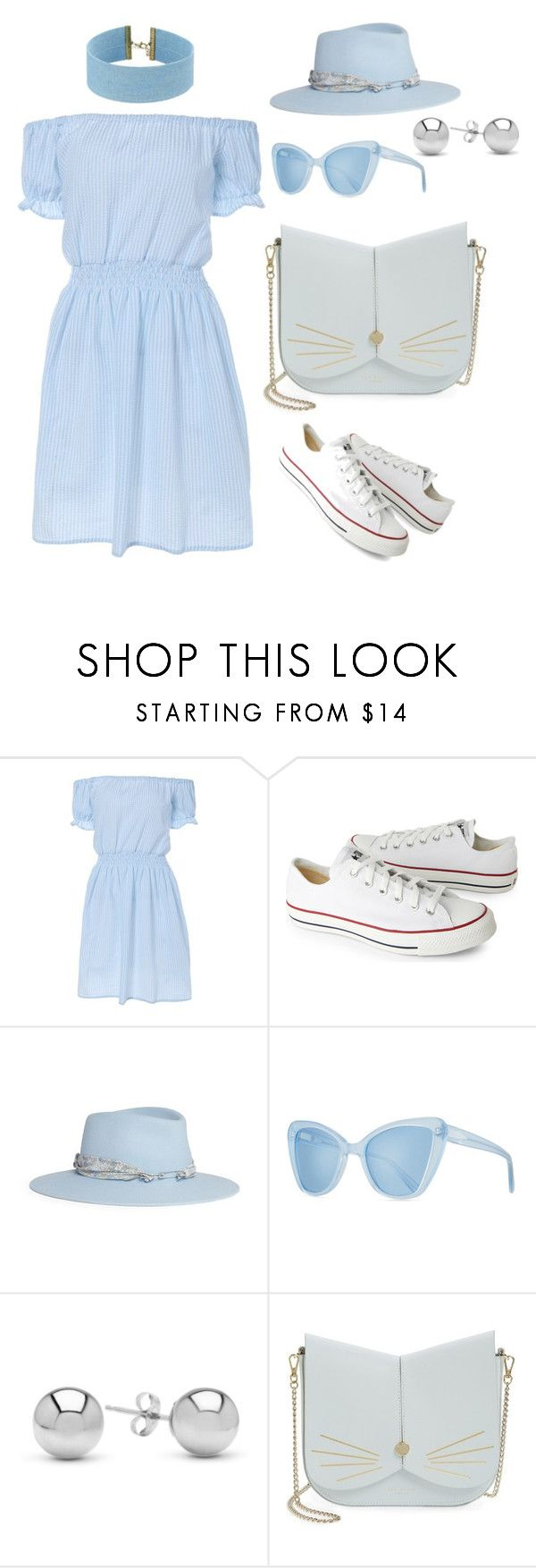 """""""sky blue"""" by tessa-cassie ❤ liked on Polyvore featuring Converse, Maison Michel, Prism, Jewelonfire, Ted Baker and Steve Madden"""