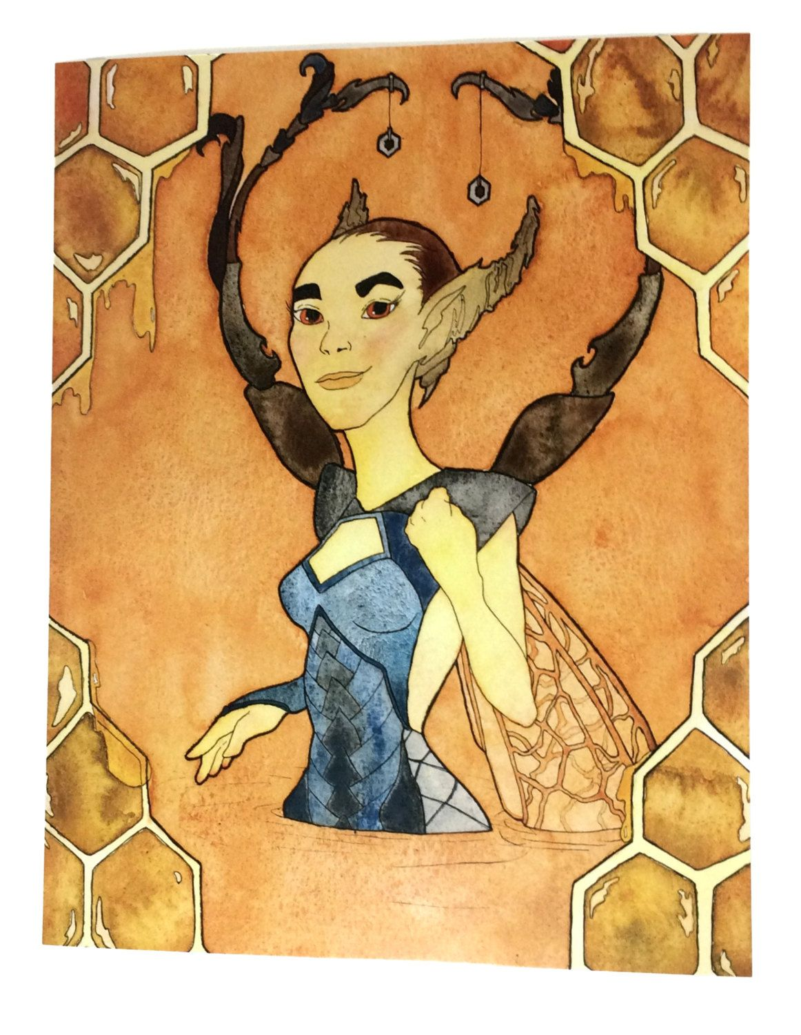 Watercolor Fantasy Wall Art, Honeybee Wall Decor, Feminist Art Print ...