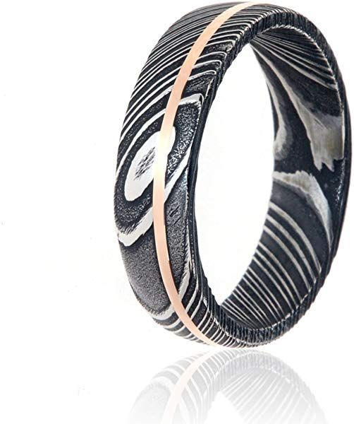 Damascus Steel Wedding Bands Usa Made 14k Rose Gold Rings Damascus Rings Amazon Com Damascus Steel Wedding Band Damascus Ring 14k Rose Gold Ring