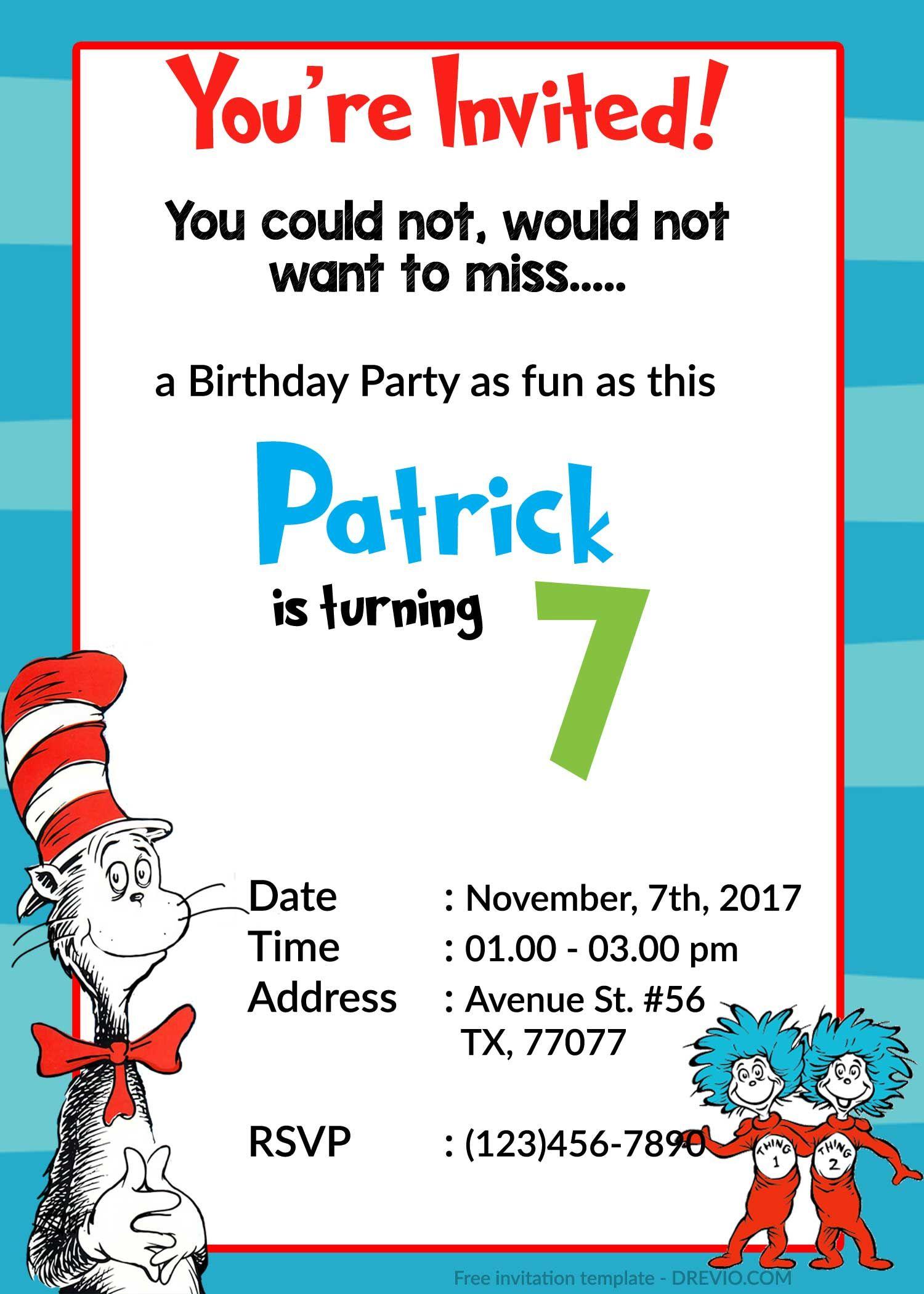awesome dr.Seuss Birthday Invitations PSD Template   Birthday ...