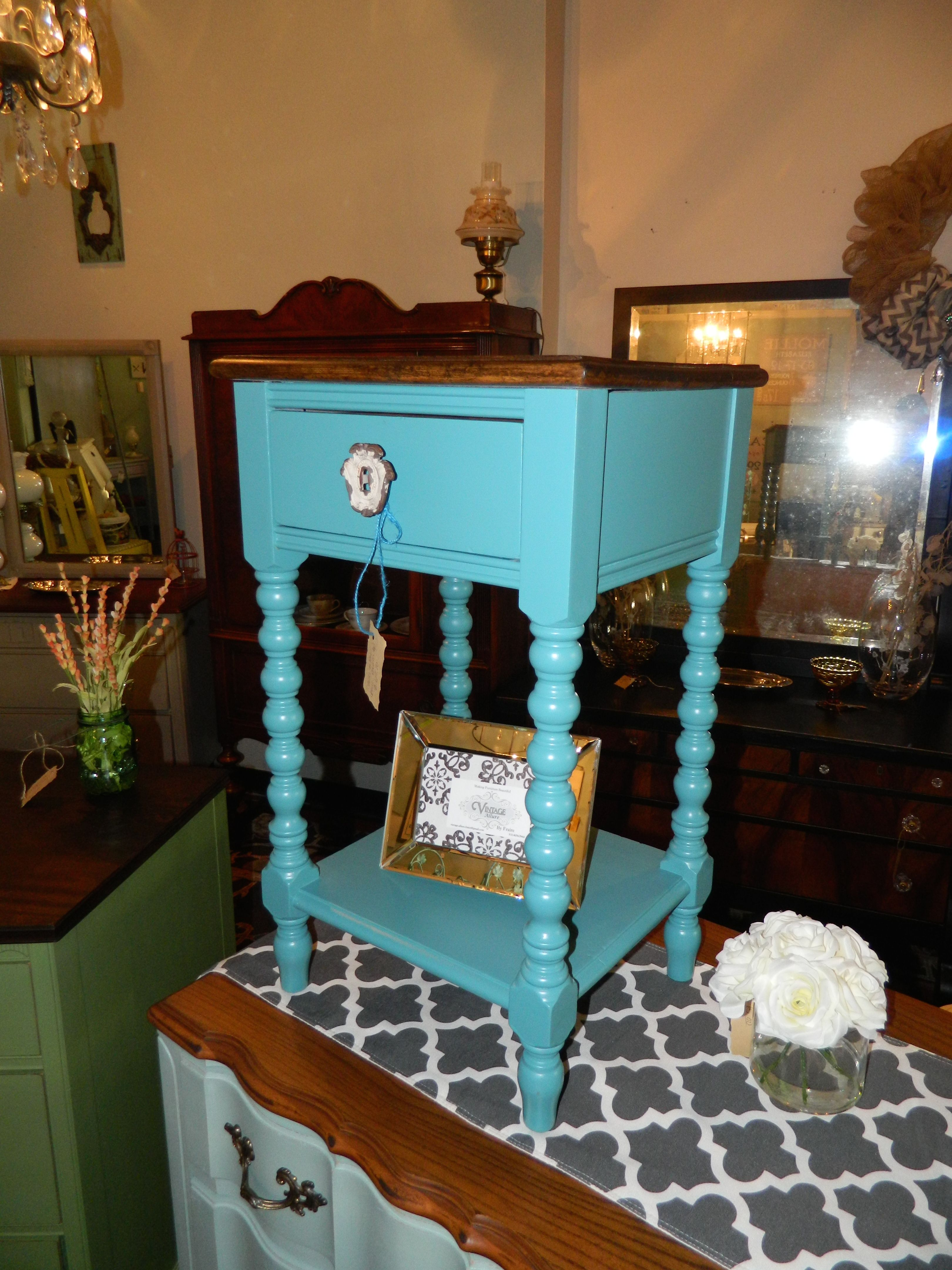 Bedside table solid wood spindle legs painted mayo teal by benjamin