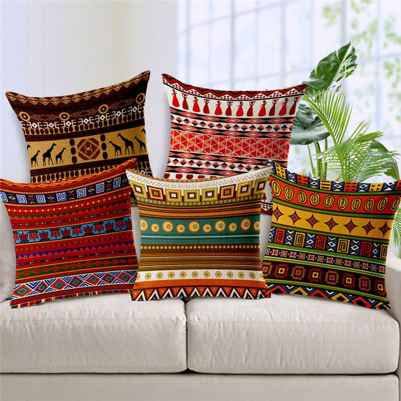 Ethnic Printed Linen Cushion Cover Sofa Seat Pillow Cases Home Decor Pillowcases