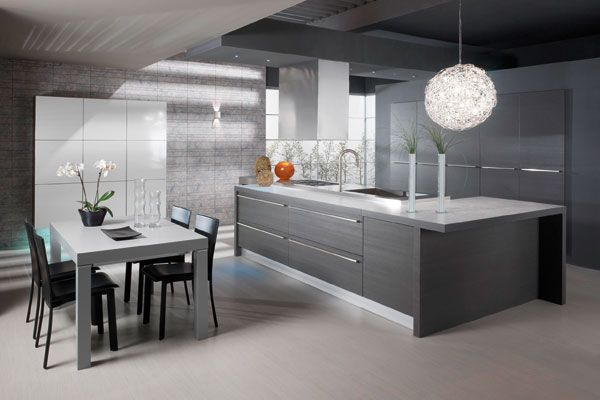Moderni, harmaa keittiö modern gray kitchen  Keittiö  Kitchen  Pinterest