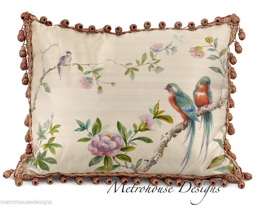 Handstitched and handpainted pure silk pillow