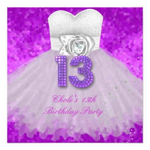 13th Birthday Party Girls 13 Teen Purple Card – Invitations for 13th Birthday Party