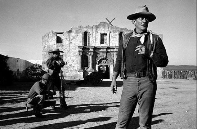 """John Wayne on the set of """"Alamo"""" © Dennis Stock"""