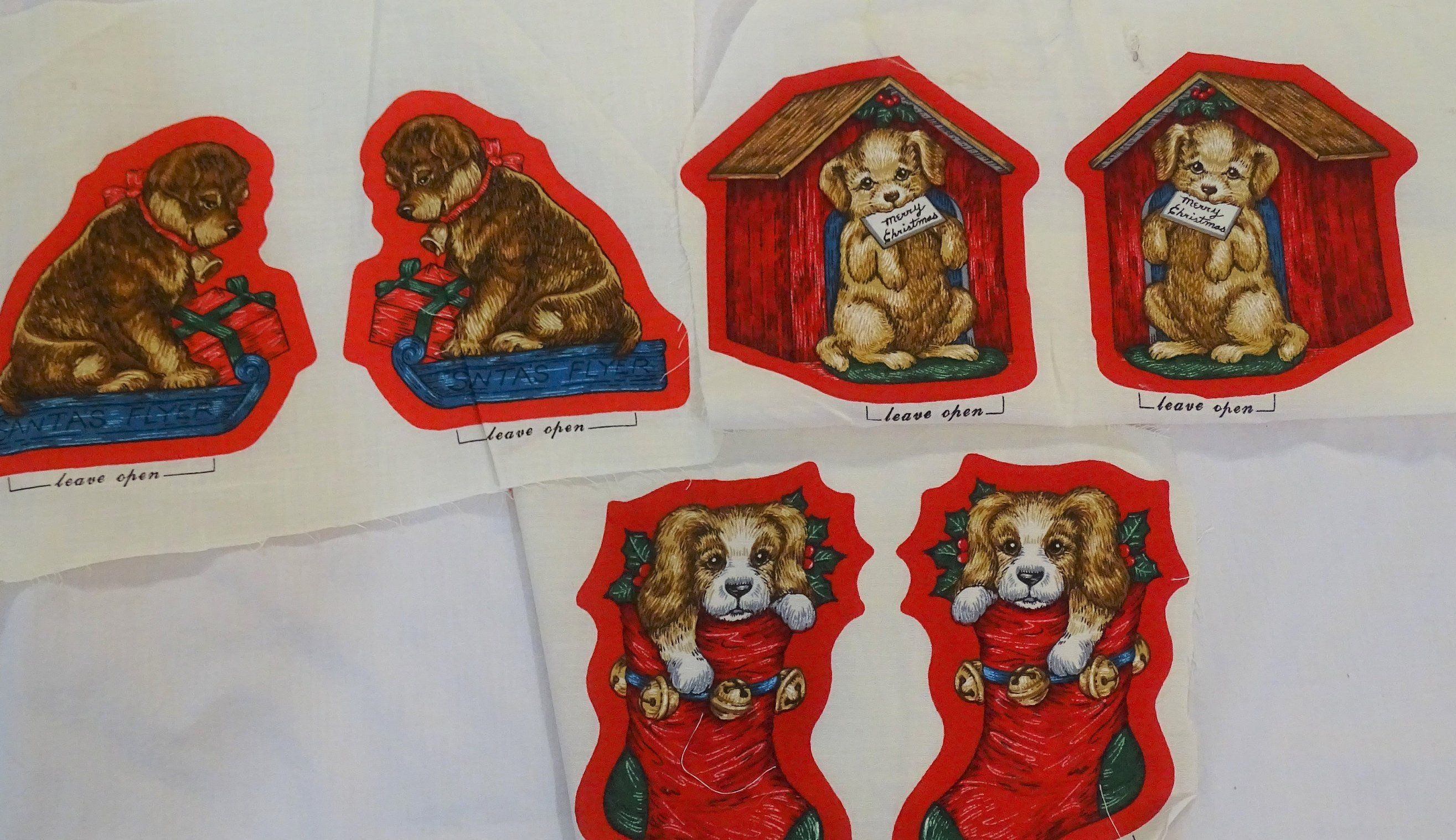 Cranston Works Fabric Panel Pets Of Christmas Past Dog Ornaments Squares Holiday Vintage Christmas Gifts Dog Ornaments Etsy Christmas