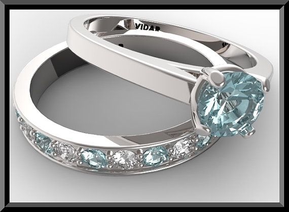 Superieur Blue Aquamarine And Diamond Wedding Ring Set,Blue Engagement Ring Set ,Diamondu2026