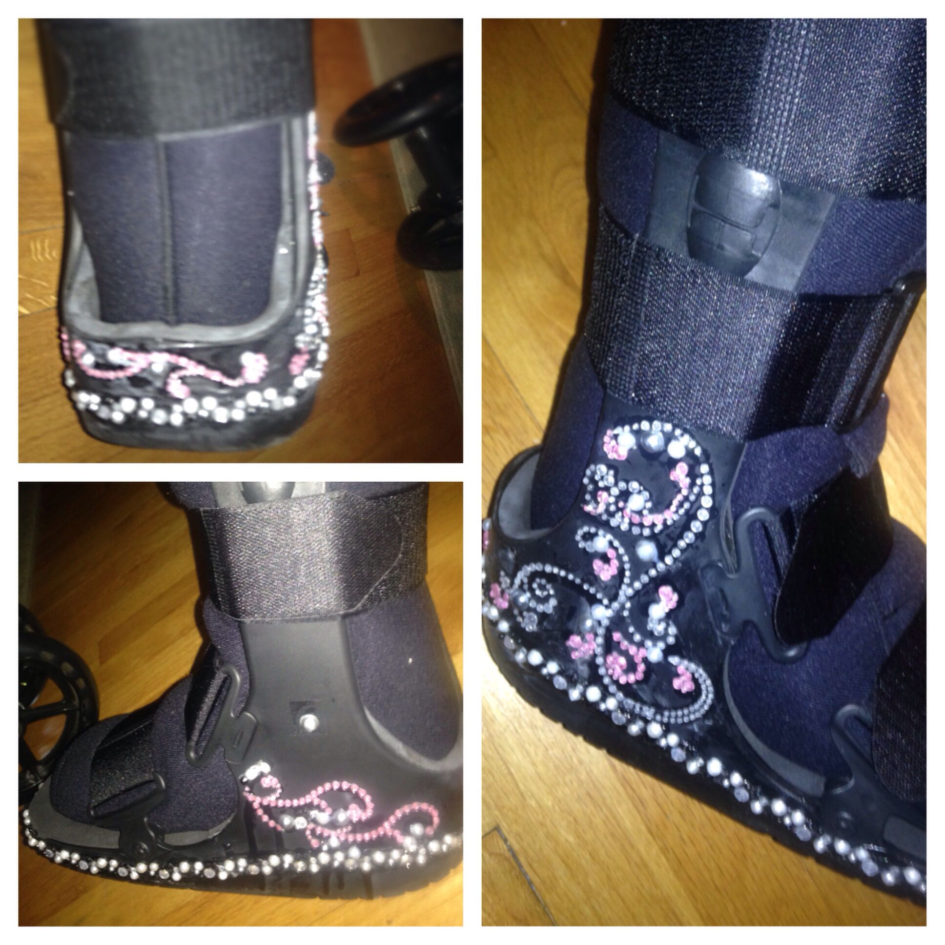 bejeweled boot cast (cam boot) diy peel n stick reinforce with