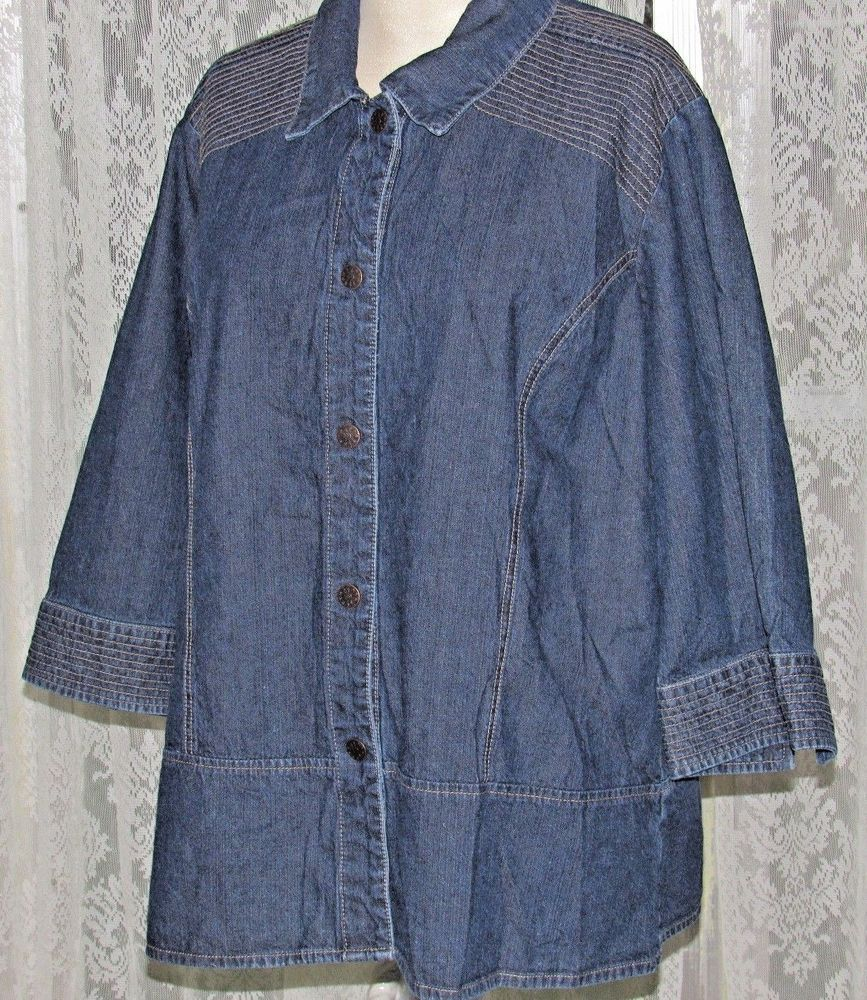 15f75aadf48 Denim Jacket CJ Banks 3 4 Sleeve Blue Jean Jacket Womens Snap Front Size XL