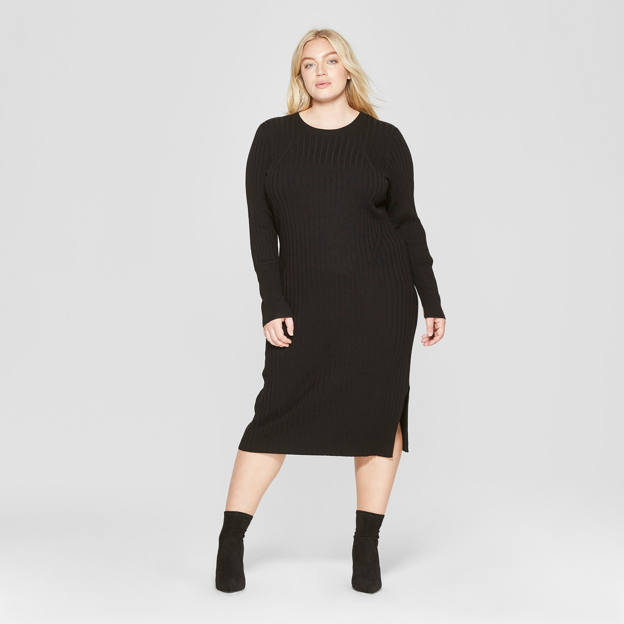 Women\'s Plus Size Long Sleeve Ribbed Midi Sweater Dress ...