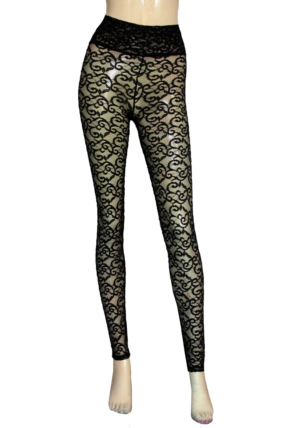 32b9d344aa8 Black lace leggings Sheer high waist tights Plus size lingerie Sexy ...