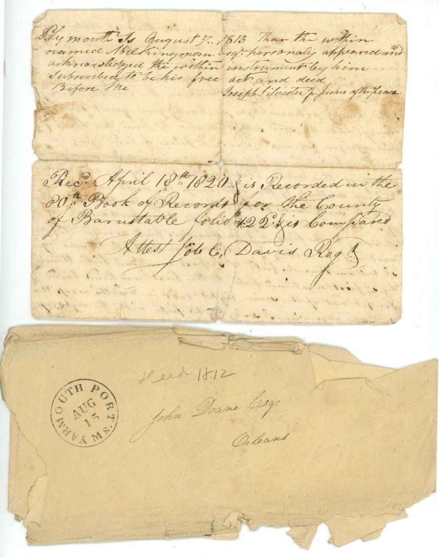 1820 Early Hand Written Deed Fragment Knowles Orleans Ma Plymouth