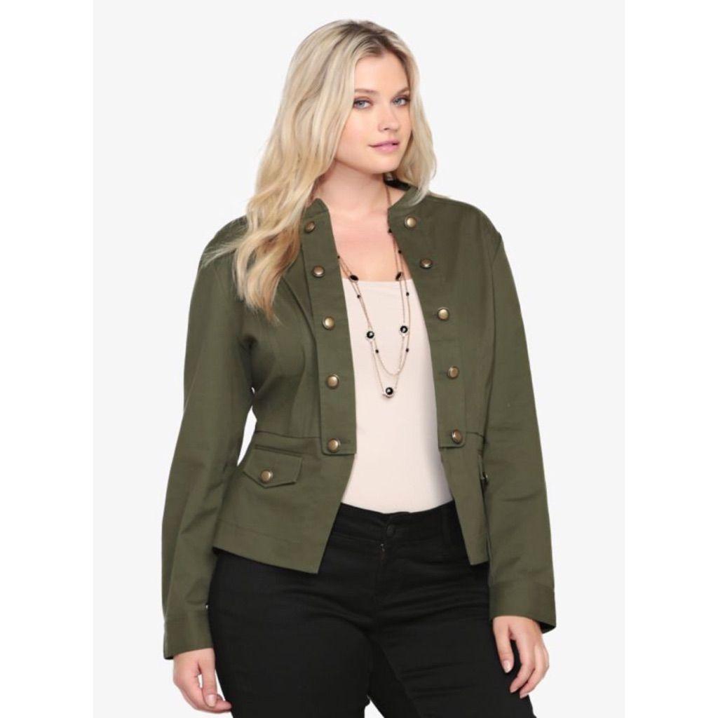 1618b9f5398fe Torrid Olive Twill Military Jacket Peplum Back 2x