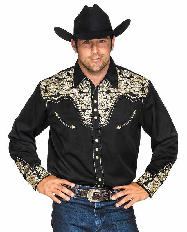 Scully Men s Black and Gold Gunfighter Retro Western Shirt  73feb63869f