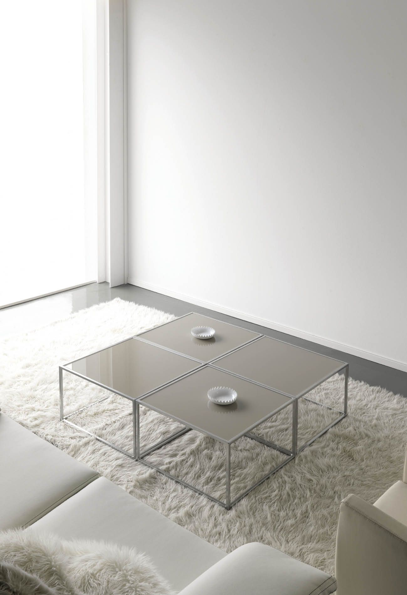 Famoso Muebles De Cuero Con Pelo Insertado Mesa De Café Otomana ...