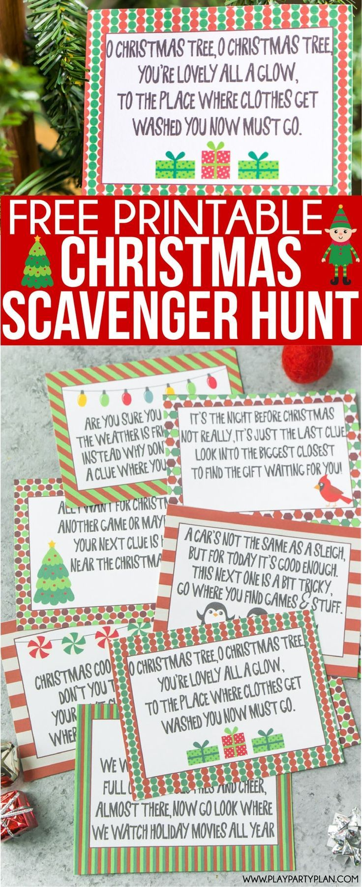 Free printable Christmas scavenger hunt clues for kids or for teens ...