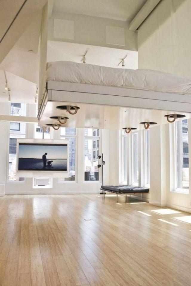 hochbetten erwachsene luft schwebend hohe decke loft Pinterest - hochbetten erwachsene kleine wohnung