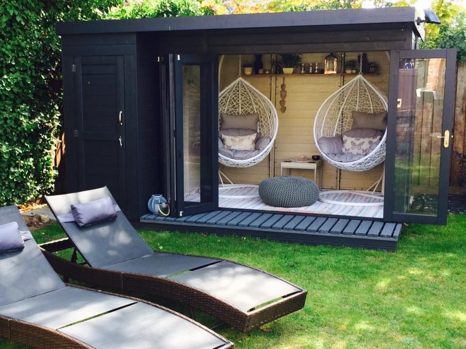 Waltons 12 x 8 Contemporary Summerhouse with Side Shed in ...