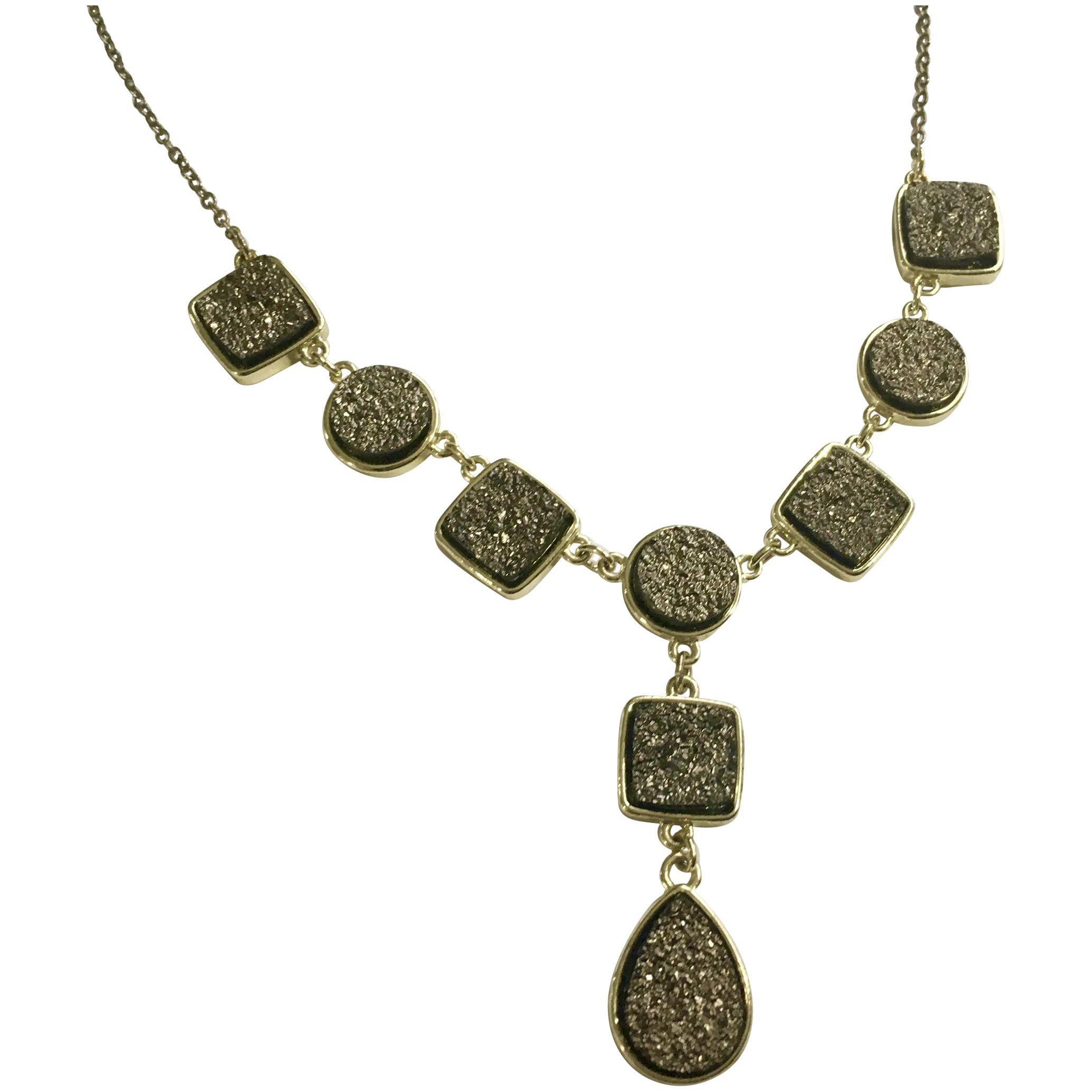 "Photo of Goldene Faux Smokey Crystal Segment Kette Halskette 19-1 / 2 ""lang"