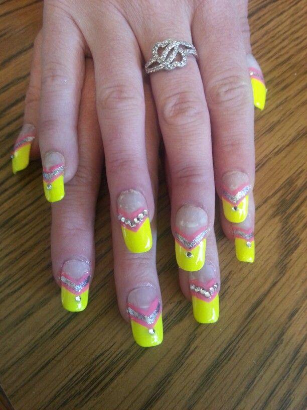 Pink silver yellow rhinestones French tip nail designs art   nails ...
