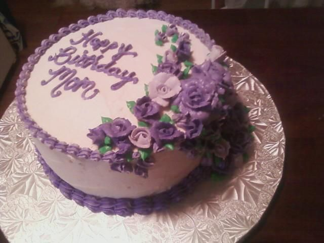 Lavender and Purple Rose Birthday Cake