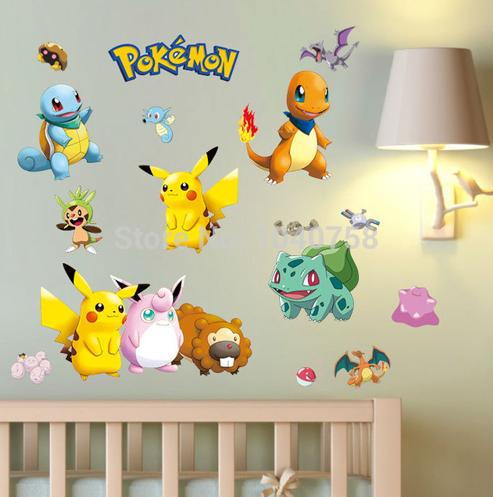Cartoon Pokemon Wall Stickers For Kid Room Pikachu Wall Decal Poster Art Window