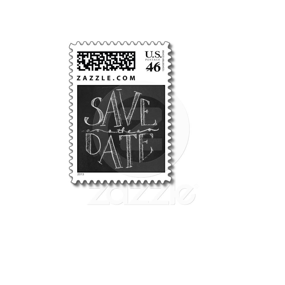 Chalkboard Save the Date Typographic Postage from Zazzle.com