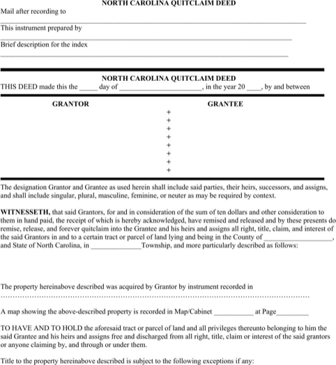 North Carolina Quitclaim Deed Form  TemplatesForms