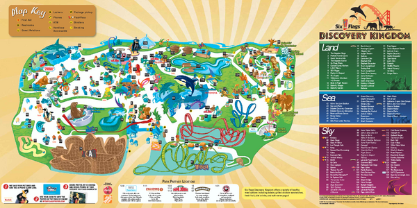 Six Flags Discovery Kingdom Park Map Mediumthumb Pdf Png 600 300 Park Theme Park Map