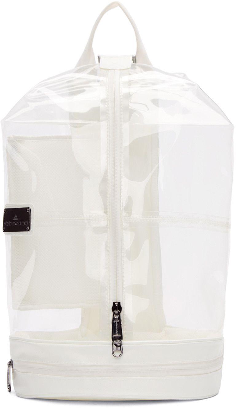 adidas by Stella McCartney - White   Transparent Vinyl Sportsbag 5 Backpack 2fff5f541d48a
