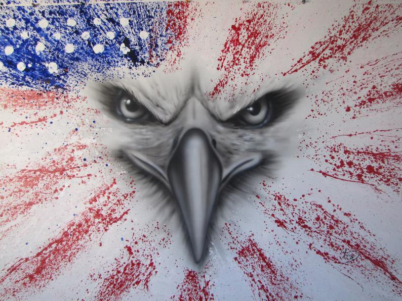 American Flag 51 USA flag, United states of america, original oil painting on canvas, handmade
