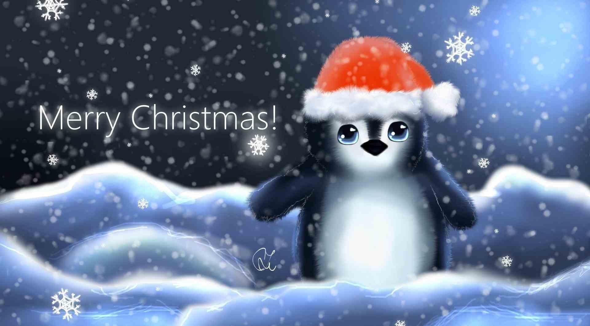 Penguins Merry Christmas Wallpaper Cute Christmas Backgrounds Animated Christmas Wallpaper
