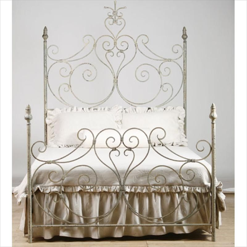 Farmhouse Iron Scroll Bed With Upholstered Headboard I